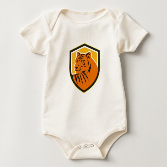 Tiger-vorderes HauptWappen Retro Baby Strampler