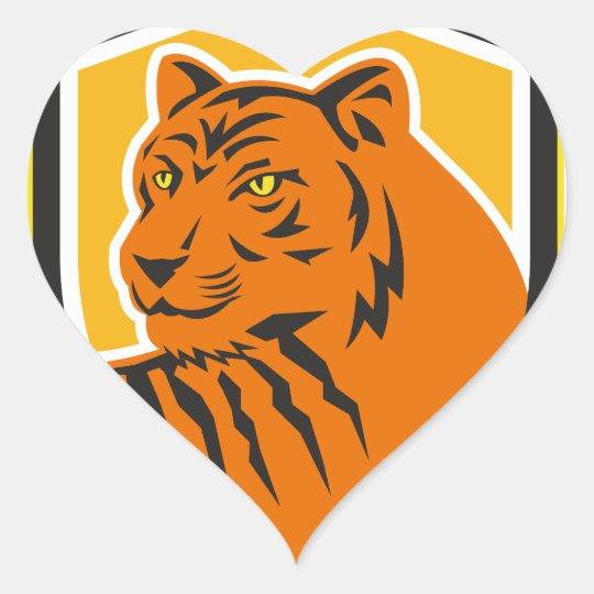 Tiger-vorderes HauptWappen Retro Herz-Aufkleber