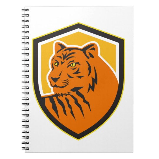 Tiger-vorderes HauptWappen Retro Spiral Notizblock