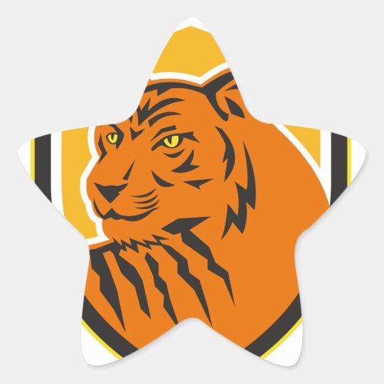 Tiger-vorderes HauptWappen Retro Stern-Aufkleber