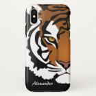 Tiger, wilde Katze auf Schwarzem iPhone X Hülle