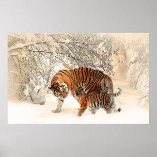 Tigerjunges und -mutter im Schneeplakat Poster