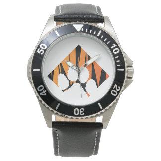 Tigerpaw Edelstahl-Schwarz-Leder Armbanduhr