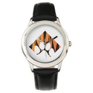 Tigerpaw Edelstahl-Schwarzes Uhr