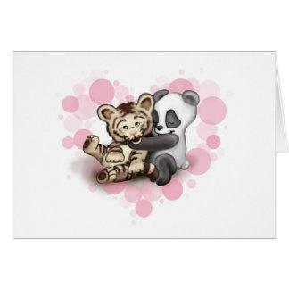 Tigre et panda carte de vœux