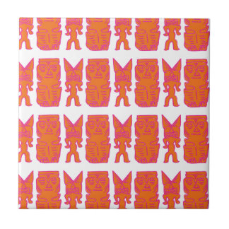 Tiki Zeit in der Orange Kleine Quadratische Fliese