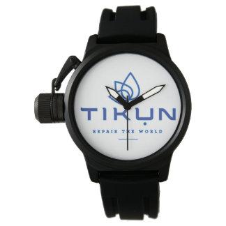 Tikun schwarzer Gummi mit einem Band versehene Uhr