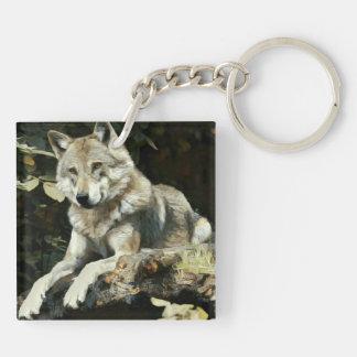 Timberwolf-Malerei Schlüsselanhänger