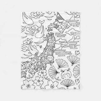 Tinte: JAPAN-Fleece-Decke, klein Fleecedecke