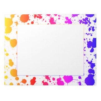 Tinten-Farben-Spritzen-Spritzer-bunter heller Notizblock