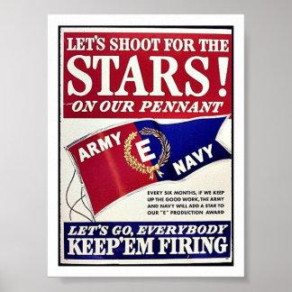 Tirons pour les étoiles sur notre fanion affiche
