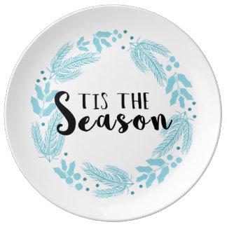Tis der Jahreszeit-Weihnachtspapier-Teller Porzellanteller
