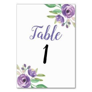 Tischnummer-Hochzeits-Garten-lila Blume mit Blumen Karte