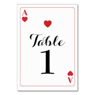 Tischnummer-Hochzeits-Herzass Spielkarten Karte