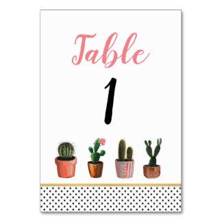 Tischnummer-Hochzeits-Kaktus-Kaktus-rustikale Karte