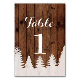 Tischnummer-Winter-Hochzeits-Waldholz-Karten Karte