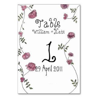 Tischnummerkarten, mit Blumen