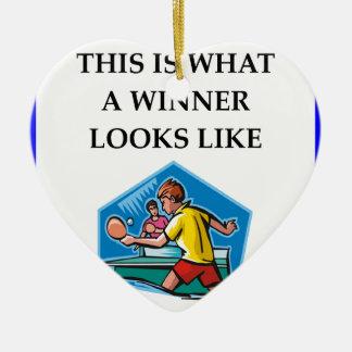Tischtennis Keramik Herz-Ornament