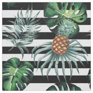 Tissu Ananas tropical d'aquarelle avec les rayures