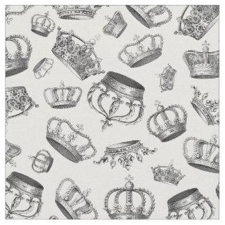Tissu Couronnes royales gravées par cru