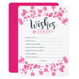 Titel-Baby wünscht Blasen-Rosa 12,7 X 17,8 Cm Einladungskarte