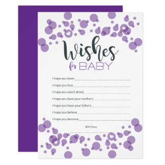 Titel-Baby wünscht die lila Blasen 12,7 X 17,8 Cm Einladungskarte