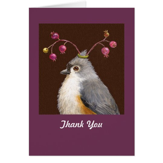 Titmouse und Beeren danken Ihnen notecard Karte