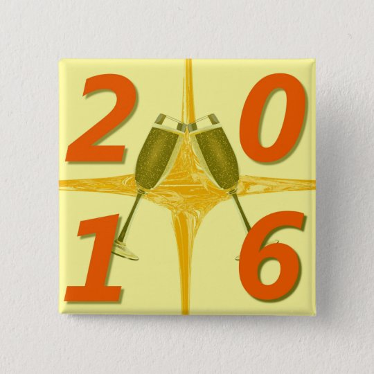 Toast des neuen Jahr-2016 Quadratischer Button 5,1 Cm