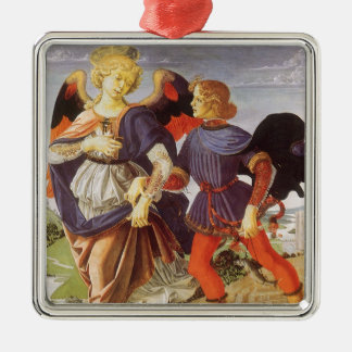 Tobias und der Engel durch Andrea del Verrocchio Quadratisches Silberfarbenes Ornament
