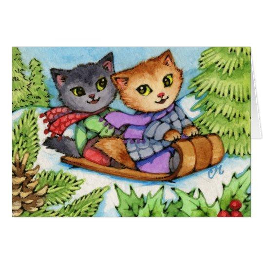 Toboggan-Fahrt - niedliche Winter-Katzen Karte