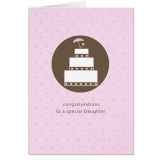 Tochter, Brautparty-Kuchen, Brown, rosa Karte