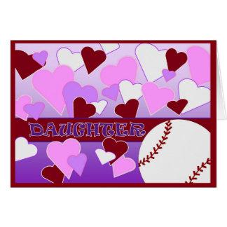 Tochter - i-Liebe Sie mehr als BaseballValentine Grußkarte