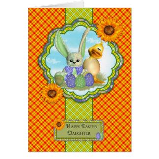 Tochter-niedliche Ostern-Karte mit Kaninchen und Karte