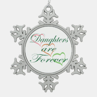 Töchter sind für immer Herzen Schneeflocken Zinn-Ornament