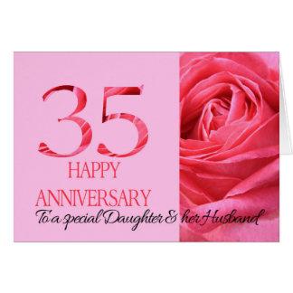 Tochter-u. Ehemann-Jahrestags-Karten-Rosa-Rose Grußkarte
