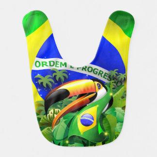 Toco Toucan mit Brasilien-Flagge Baby_Bib Lätzchen