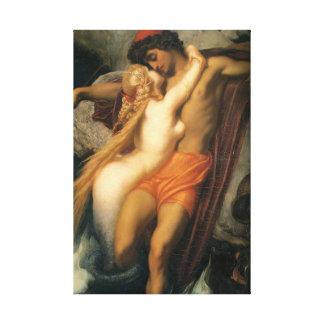 Toile Beaux couples de sirène dans l'humain et la sirène