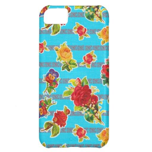 Toile cirée inspirée mexicaine - fleurs de turquoi coques pour iPhone 5C