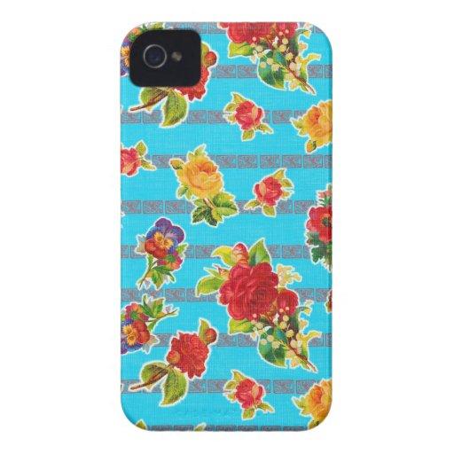Toile cirée inspirée mexicaine - fleurs de turquoi étuis iPhone 4