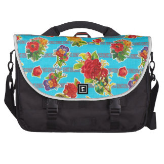 Toile cirée inspirée mexicaine - fleurs de turquoi sacoches ordinateur portable