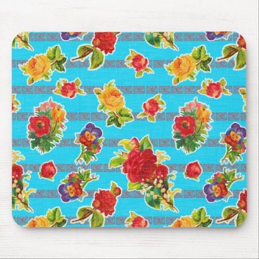 Toile cirée inspirée mexicaine - fleurs de turquoi tapis de souris