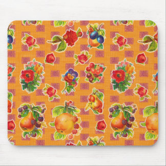 Toile cirée inspirée mexicaine - fleurs oranges de tapis de souris