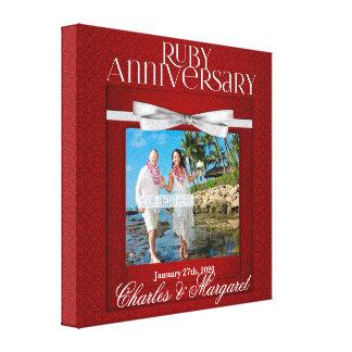 Toile damassé rouge de rouge d'anniversaire de mariage