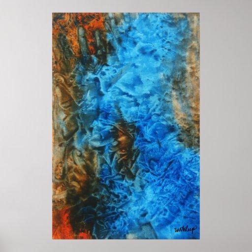 """Toile d'aquarelle du """"feu et de glace"""" par l'unASL Affiche"""