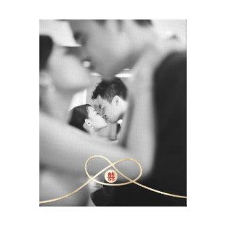 Toile de photo de mariage de bonheur de double de