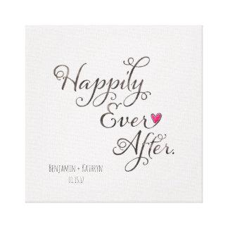"""Toile """"Heureusement pour toujours"""" épouser personnalisé"""
