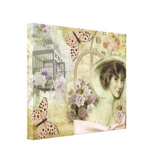 Toile horloges, cages et papillons vintage rosés