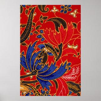 Toile mate d'impression de batik poster