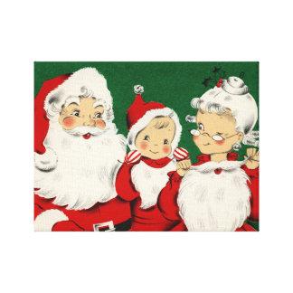 Toile Noël vintage de famille de Père Noël