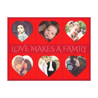 Toile Photo de famille en forme de coeur personnalisée